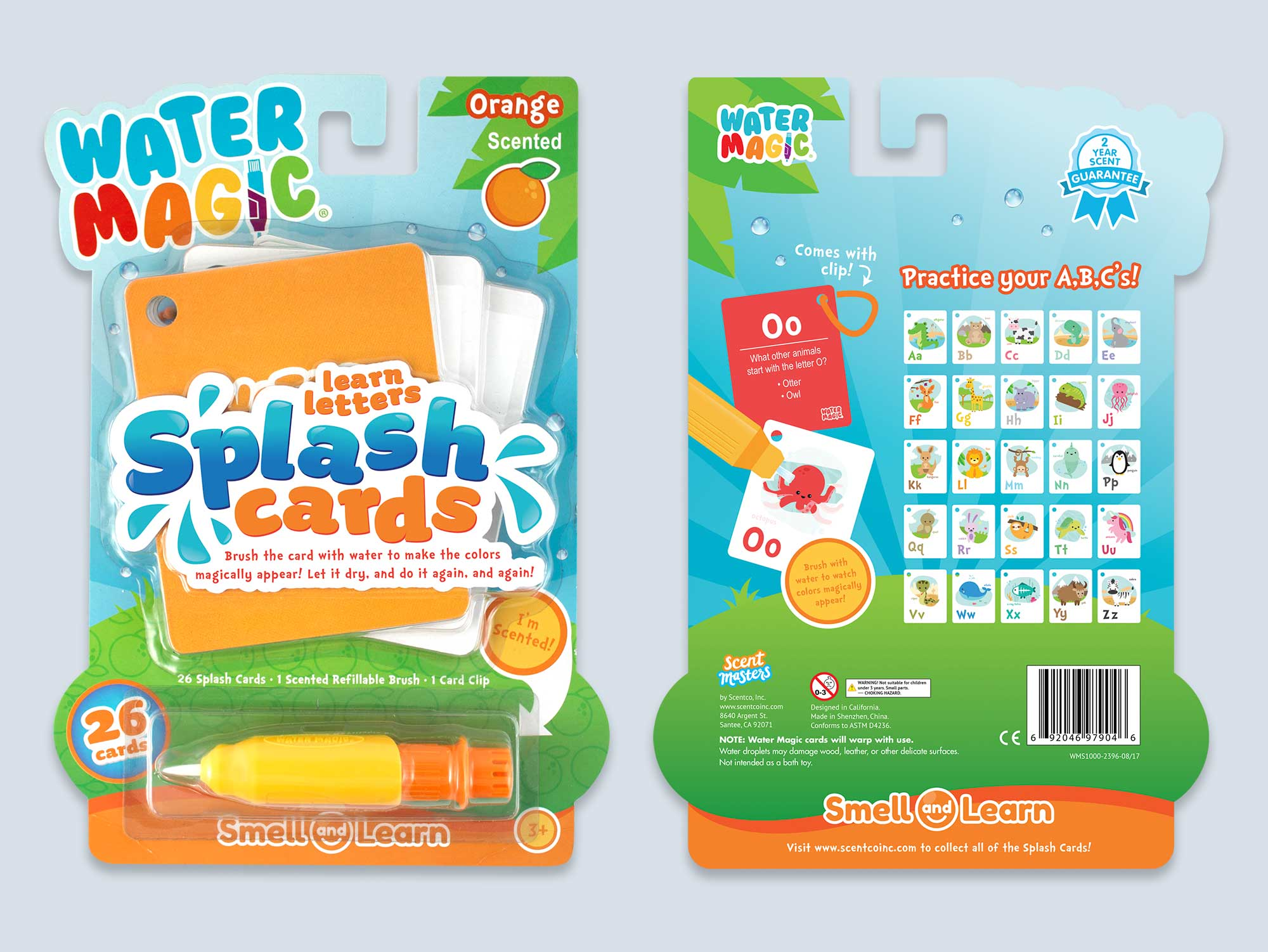 Splash Cards Front and Back Packaging