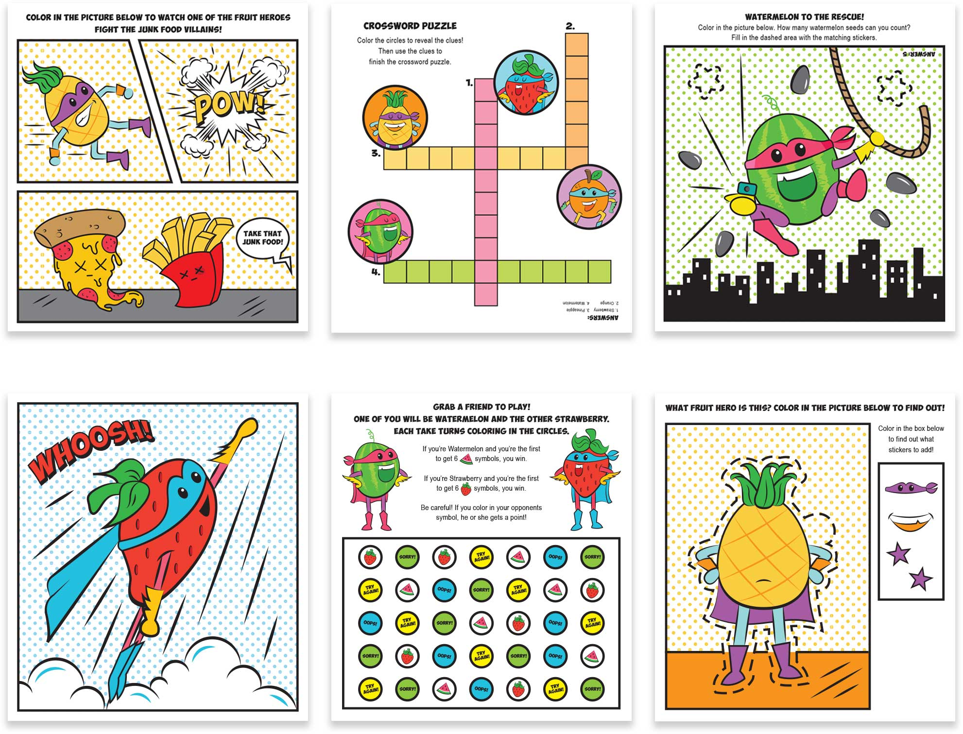 MagInk Fruit Heroes Activity Pages